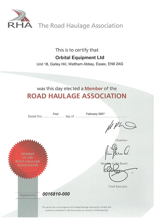 RHA certificate
